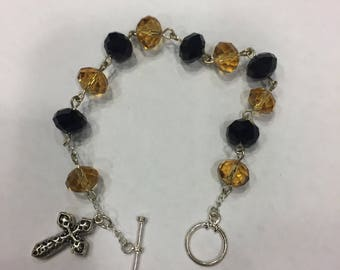 Black and Gold Rosary Bracelet with silver puffed cross