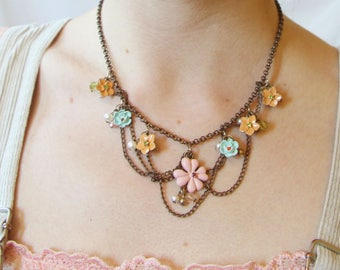 70s Vintage Flower Necklace/Choker