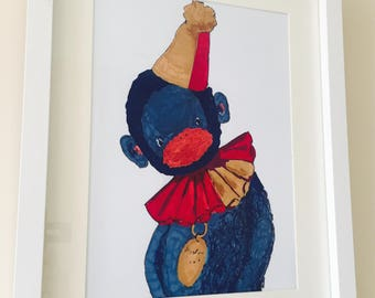Circus monkey animal A4 print wall art