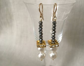 Swarovski Pearl and Faceted Hematite Drop Earrings