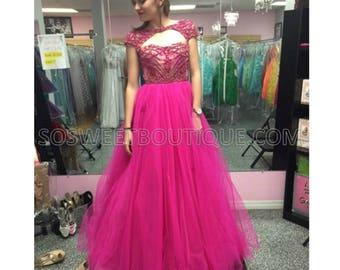 Sherri Hill Prom Dress – Prom Gown Style 11199 -  Long Prom Dresses Fuchsia 0