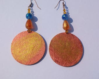 collection Terre d'oriente-Golden Sun-hand painted wood earrings