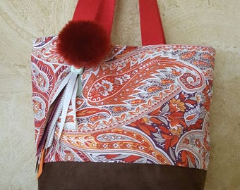 Handbag Juppy Pompom - cotton and suede - red and Orange.