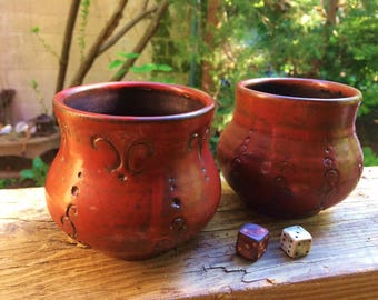 Carved stoneware tea cups
