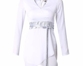 White Satin Georgette Overlapping Dress With Silver Foil Belt