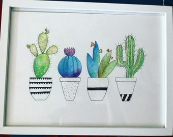 Ombre Colourful Cactus Illustration Print