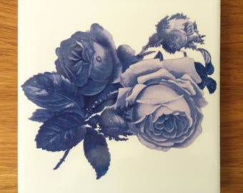 Blue Roses Floral Ceramic Wall Tile