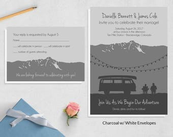 Adventure Wedding Invite Sets ~ Camping Wedding Invitations ~ Travel Wedding Invites ~ Mountain Wedding Invitation Sets ~ Outdoor Wedding