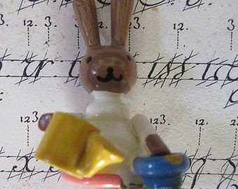 "Sevi Italy Vintage Wooden Easter Bunny Hand Made Easter Rabbit Decoration 1-1/2"" Tall"