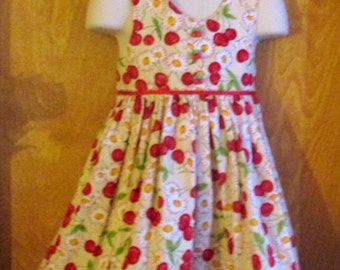 Hand Made Cherries & Flowers Dress - Size child's 2T