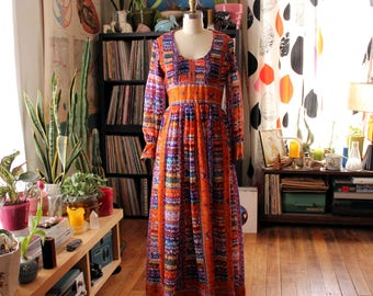 psychedelic 60s maxi dress . orange & purple gauze peasant dress with smocked bodice and balloon sleeves . electric ladyland womens small