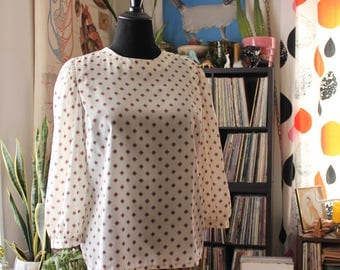 sheer vintage 80s blouse with puffy 3/4 sleeves and diamond print . 1980s Koret, cream white pullover top, APPROX womens large xl