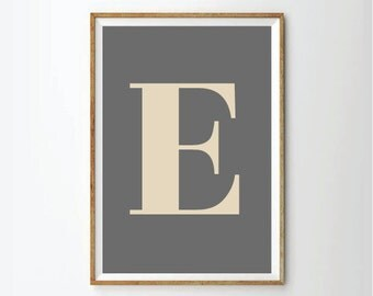 Custom Letter Poster Personalized Print Wall Art Office Poster Nursery Print Baby Monogram