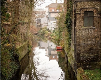 Peaceful Canal Scene Canvas Print, Brugge Belgium Photo, Europe Photography, 16x20 to 32x48 Inches Large Wall Decor