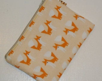 SALE SALE SALE - 20% Off Kawaii Padded Zipper Pouch / Foxy Friends Coin Purse / Cosmetic Case / Camera Bag / Card Wallet / Coin Purse --  (O