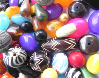 supplies-Beads -1/2 Pounds Awesome  Resin beads Medium large Funky  beads mix shape sizes 12 mm - 30 mm