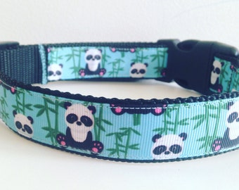 Panda Bear Print Large 1 inch Dog Collar