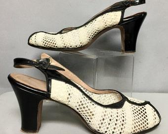 1950's Troylings MESH Heels, PeeP TOE Ankle Strap, SLINGBACK Shoes, size 7