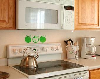 Apple Vinyl Decals (Set of 2) size X-LARGE, Kitchen Apple Decal, Kitchen Vinyl Decal,  Apple Wall Sticker, Kitchen Décor