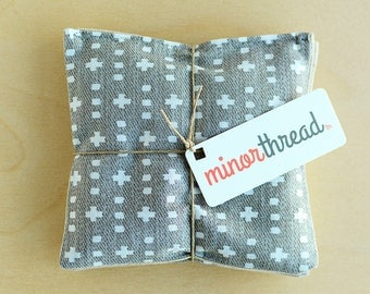 Organic Lavender Sachet Set in Grey Plus and Linen Handmade Hostess Gift - 2 Sachets Natural Home