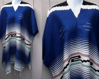 Vintage Mexican Serape Handwoven PONCHO / Handwoven Blanket Jacket Coat