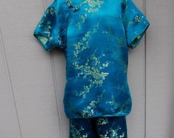 Vintage Asian Mandarin Girls or Boys Pajama Set // Girls or Boys Size 10 - 12