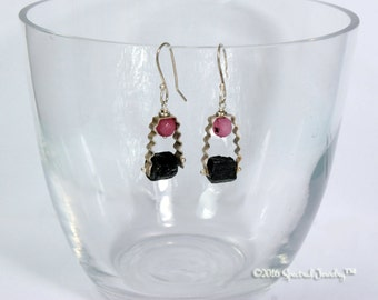 Black Tourmaline Pink Jade Earrings | Raw Crystal | Sterling Gemstone | Boho | Gift For Her | Modern Gypsy | Dangle Earrings | Gift for her