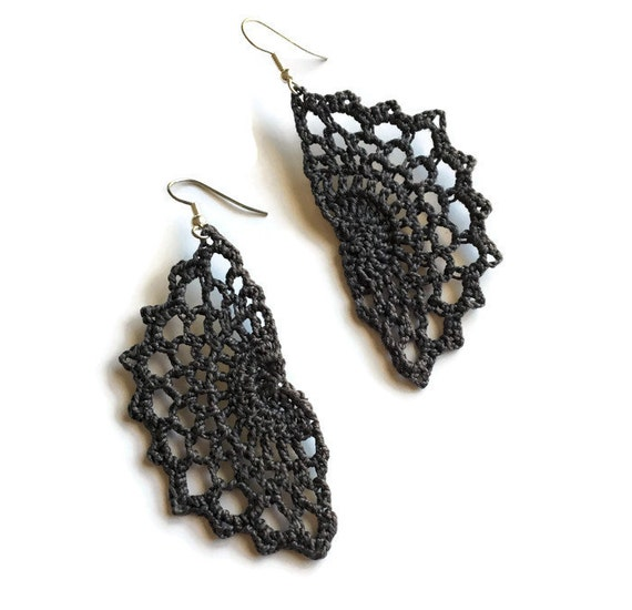 Boho Chic Crochet Statement Earrings Bohemian Gypsy Hippie Jewelry Gift for Her  /Vintage Lace Filigree -Handmade Lace in Dark Gray