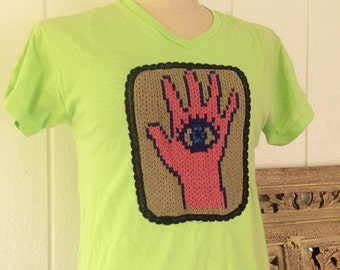 V neck T shirt Medium with hamsa application, lime green tee with protective eye embellishment, gift for women, Christmas present for her