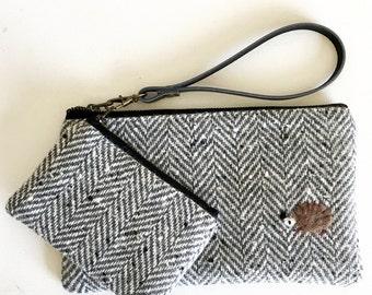 Wool wristlet set - grey herringbone with a hedgehog applique.