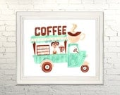 COFFEE TRUCK Printable Instant Download jpg Digital Wall Art Decor Print Watercolor Gouache Foodtruck Kitchen Dining Cooking Coffee Cafe