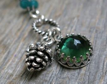Winter Forest necklace ... sterling silver pine cone / green quartz / green emerald