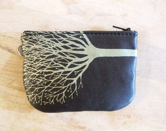 Black Leather Zip Wallet Recycled Leather Gold Tree