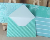 4 Mini A7 Handmade envelopes, turquoise collection. Thank you, birthday cash, gift giving, invitation