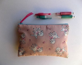 Japanese Sheep Fabric (Pink) - Pencil Case Fabric Make up Bag Padded Pouch