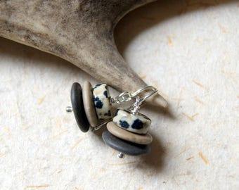 Cairn Earrings - beach stone earrings - beach pebble earrings  - Cairn Jewelry - Stacked Stone Earrings - Dalmation Jasper Earrings