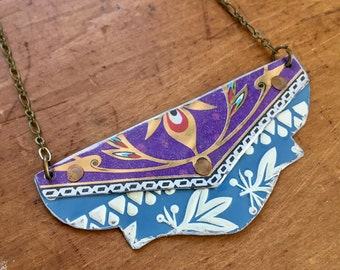 Purple and blue vintage tin necklace