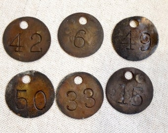 Vintage metal number tags **SALE**