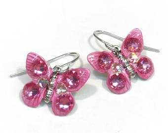 Butterfly Earrings Colorful and Sparkling Pink