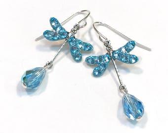 Dragonfly Earrings Aquamarine AB Crystal