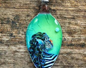 RW2 Zebra Spoon 3D Necklace Pendant Surreal Art by Robert Walker