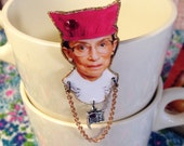 Ruth Bader Ginsburg Wearing a Pussy Hat Brooch Supreme Court Justice Notorious RBG Fundraiser for Planned Parenthood