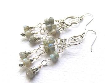 Labradorite Chandelier Earrings, Blue Green Labradorit, Blue Gemstone Earrings,Sterling Silver and Natural Labradorite, Fancy Stone Earrings