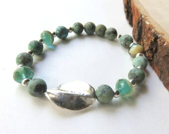 African Turquoise Bracelet, Matte Finish Turquoise, Czech Glass Stretch Bracelet, Sterling Silver, Southwestern, Gift for Someone Special
