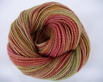 Handspun yarn, bluefaced leicester yarn, hand painted yarn, british wool, WILD FLOWERS,self striping yarn,floral colours,weaving yarn,190yds