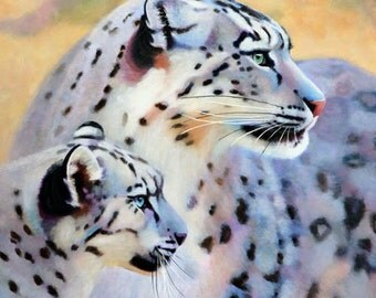 Mother and Cub Snow Leopard Fine Art Limited Edition Print - Free Shipping - Big Cat Print