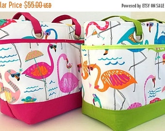 MOTHERS DAY SALE large beach bag, tote, flamingo, whimsical, pink, blue, green, travel tote, waterproof, vacation bag, gift for women, gift