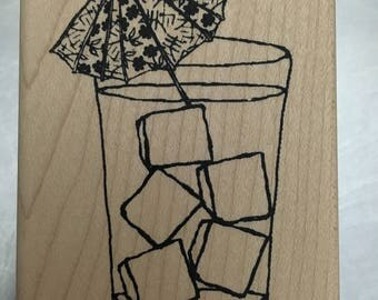 tiki cocktail tropical happy hour rubber stamp