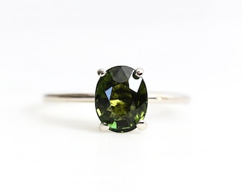 18k oval green tourmaline ring, alternative engagement, one of a kind, eco friendly ring
