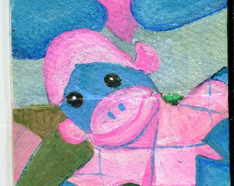 ACEO Original Sock Monkey, pink and blue sock monkey art card, collage elements, Sharon Foster Art